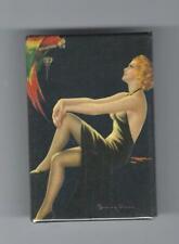 VINTAGE ART DECO PRETTY LADY & PARROT PICTURE POCKET MIRROR