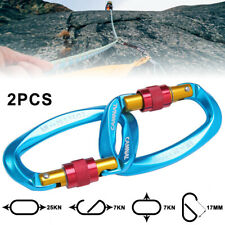 2x Carabiner Clip Hook Heavy Duty 25kn D-ring Screw Lock Outdoor Rock Climbing