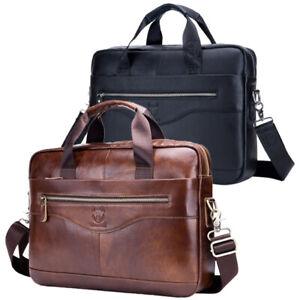 """Men Genuine Leather Briefcase Business 14"""" Laptop Handbag Office Shoulder Bag"""