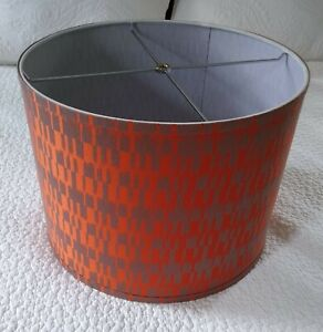 "Drum Lamp Shade Orang/Brown Fabric 11"" height x15"" round - Spider"