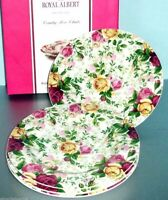 Royal Albert Country Rose Chintz Salad Dessert Plate 4 Piece Set New Boxed