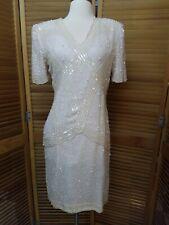 Vintage Laurence Kazar Silk Ivory Beaded Dress Wedding MOB