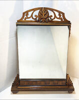 Antique Wood Frame Table Mirror - Hand Carved Victorian Decor Vanity Accessory