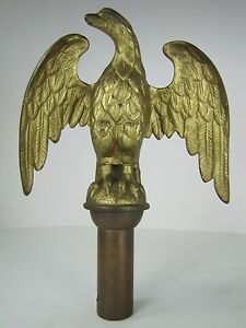 Antique Bronze Eagle Architectural Finial Flag Pole Topper exquisite detail Gilt