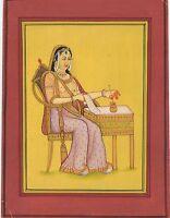 Original Indian Art Rajput Queen Miniature Paper Painting Watercolor Wall Decor