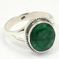 Solid 925 Sterling Silver emerald Gemstone Ring Handmade Jewelry - Any Size