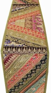 """33% OFF 60"""" EXOTIC ART DÉCOR VINTAGE SARI BEAD TABLE LINEN RUNNER THROW TAPESTRY"""