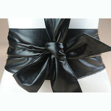 Retro Bow knot Lady Belt Super Soft Solid Wide Belt PU Leather Waistband Belts