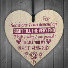 My Best Friend Sentimental Friendship Plaque Gift Wood Hanging Heart Thank You