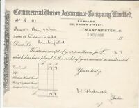Commercial Union Assurance Company Ltd Manchester Money 1939 Receipt Ref 37228