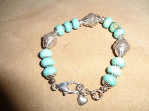 Brighton Santa Fe Silver and Turquoise Color Bracelet,GENTLY WORN~FREE SHIPPING