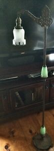 Vintage Bridge Floor Lamp Wi/ Jadeite Glass including frosted etched glass shade