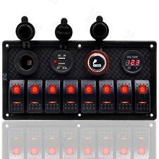 8 GANG Red LED Rocker Switch Panel Marine Boat Car RV Waterproof Circuit Breaker