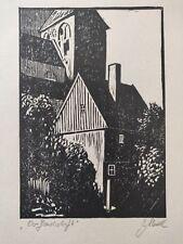 Edición limitada de impresión original linograbado titulado, firmado por artista, alrededor de 1970s