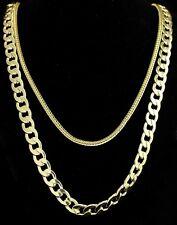 """2pc Set 24"""" 30"""" Cuban/Franco Chains 14k Gold Plated Hip Hop Necklaces"""
