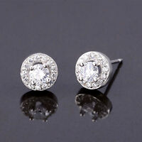 Solid 925 Sterling Silver 4mm CZ Halo Round Stud Earrings Lady Jewellery 6.5mm