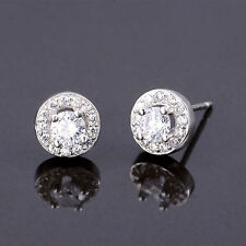 Solid 925 Sterling Silver 4mm CZ Halo Stud Earrings Jewellery Women Lady New