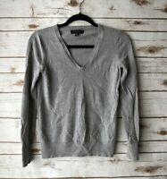 Banana Republic Womens Small Gray 100% Merino Wool V-Neck Long Sleeve Sweater
