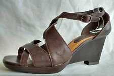 Clarks Womens Ladies Brown Leather Wedge Heeled Summer Sandals Size 6/39 Used