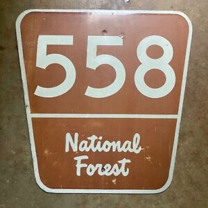National Forest route 558 highway road sign 1990s USFS white on brown