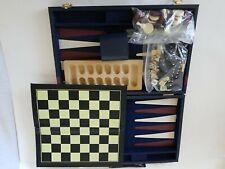 Multi Game Set Chess Backgammon Checkers and Dominos In Attache Case