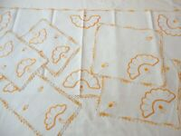6 Vintage Doilies Dresser Scarf Linen Hand Crochet & Embroidered Cream & Orange
