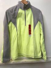 Womens Tek Gear Fleece workout running 1/4 Zip Pullover Jacket S Yellow Gray NWT