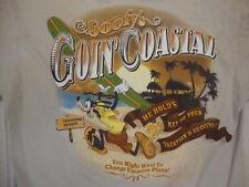 "Disney World Disneyland Goofy's ""Goin' Coastal"" Goofy Souvenir Tan T Shirt M"
