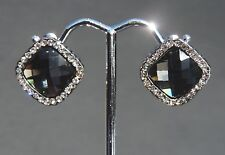 White Gold Clear and Black Crystal Stud Earrings Polished 18kgp