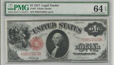 1917 $1 Large Size Red Seal Legal Tender Note FR#37 : PMG 64 EPQ