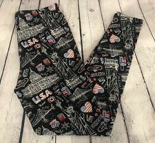 Women's Plus Size Leggings USA Americana Fun Print Black w/ Red White & Blue
