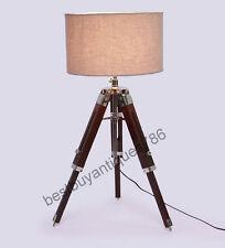 Modern Shade Floor Lamp Wooden Adjustable Tripod Stand Maritime Desk Decorative