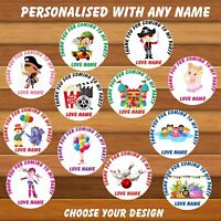 Personalised Unicorn Birthday Party  Stickers With Age 1-10 Bags,Sweet Cones,