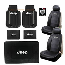 Jeep Elite Black White Front Rear Cargo Rubber Floor Mats Seat Covers