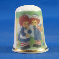 FINE PORCELAIN CHINA THIMBLE - RAGGEDY ANN AND ANDY -- FREE GIFT BOX