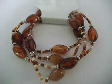 AMBER & BROWN 4 ROW STRETCH BEAD BRACELET new in gift pouch