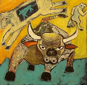 BULL Raw Folk Art Brut Collage Painting Outsider T. Marie Nolan Original Vision