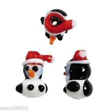 Beads Glass Lampwork CHRISTMAS Holiday PENGUINS ~ 6 Each 10mm X 18mm