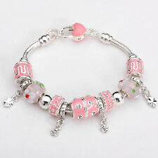 XMAS wholesale solid Silver European Murano Glass Bead Charm Bracelet +Box XB106