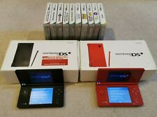 2 x Nintendo DSi Handheld Games Consoles - Red and Black - w/ Charger + Games