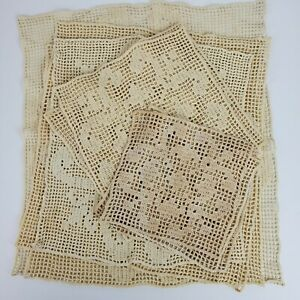 Vintage Mid Century Handmade Crochet Tan Doily 6-15 Inch SET of 12