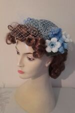 1940 s 1950 s birdcage veil half hat fascinator blue net flowers wedding  vintage c4704bbc48c