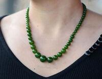 Chinese natural green jade nephrite jade handmade Round beads jade Necklaces