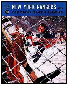 NHL 1965 New York Rangers Game Program vs Hawks REPRINT Color 8 X 10 Photo