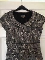 NW3 by Hobbs stunning black & white bird print dress with peter pan collar