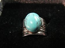 Beautiful  Premier Designs GRANADA Silver & Turquoise Ring  Size 10 1/2  W/ Box
