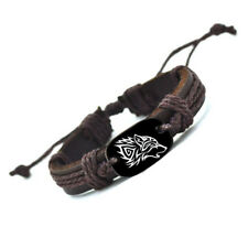 Wolf Braided Leather Bracelet Adjustable Nature Wild Wilderness