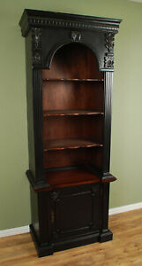 Handsome Distressed Black Carved Mahogany Georgian Bookcase Single Arch