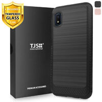 For Samsung Galaxy A10e, Phone Case TJS Thunder Brushed Cover +Tempered Glass