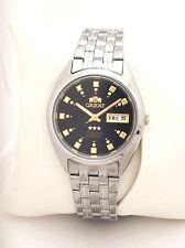 ORIENT 3 Star Automatic Watch Mens SILVER tone Dark BLACK  Dial FAB00009B9 New